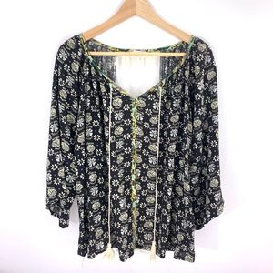 Umgee Black Lace V Neck Blouse Top Boho